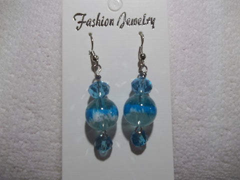Blue Glass Bead Crystal Earrings (E799)
