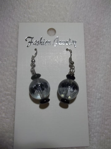 Black Glass Bead Earrings (E800)