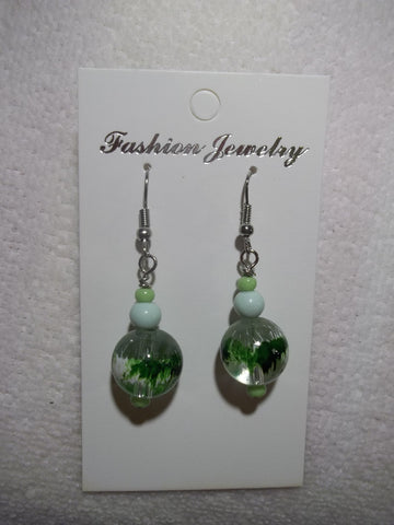 Green GLass Bead Earrings (E802)