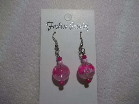 Bright Pink Glass Bead Earrings (E805)
