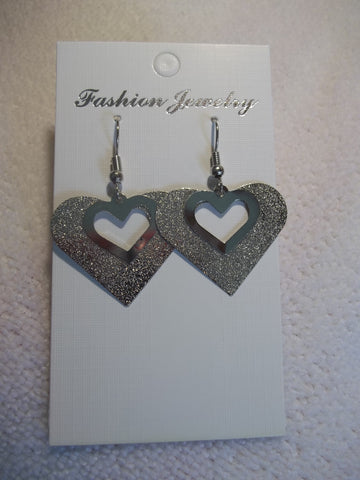 Double Silver Heart Earrings (E807)