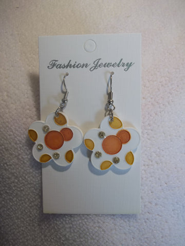 White Ceramic Orange Bling Flower Earrings (E812)