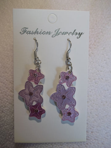 White Ceramic Purple Bling Stars Earrings (E814)