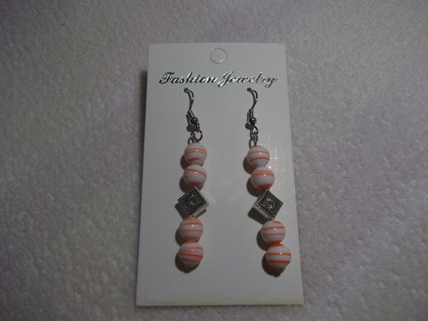 Silver Orange Swirl Glass Bead Earrings (E819)