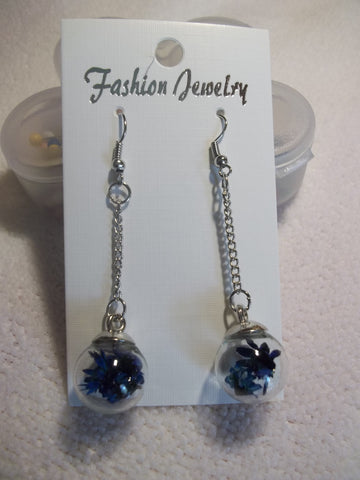 Silver Chain Blue Dried Flower Earrings (E823)