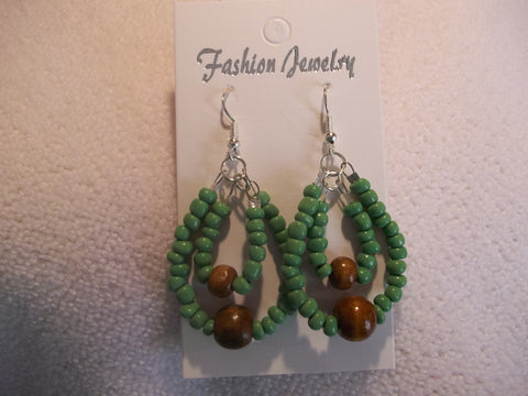 Silver Double Green Seed Bead Brown Wooden Bead Earrings (E824)