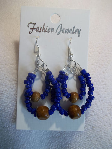 Silver Double Dark Blue Seed Beads Brown Wooden Bead Earrings (E825)