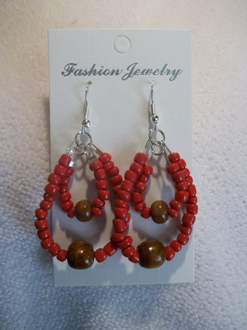 Silver Double Red Seed Bead Brown Wooden Beads Earrings (E826)