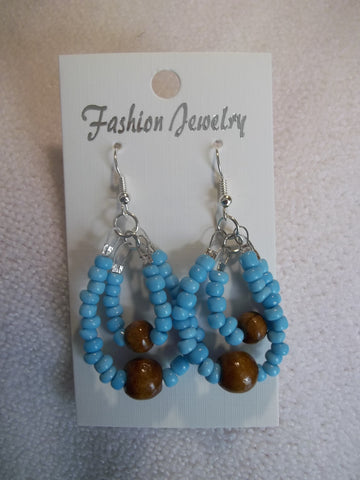Silver Double Light Blue Seed Bead Brown Wooden Beads Earrings (E827)
