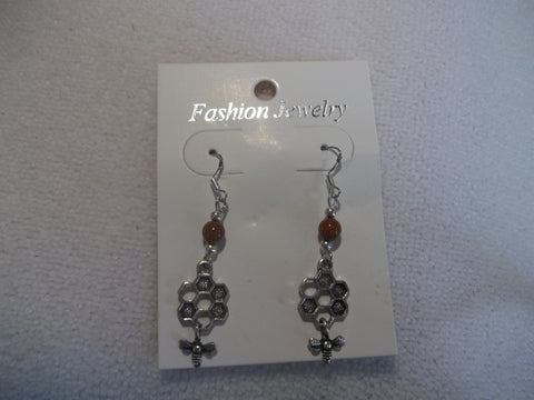 Silver Bee Hive Bee Earrings (E830)