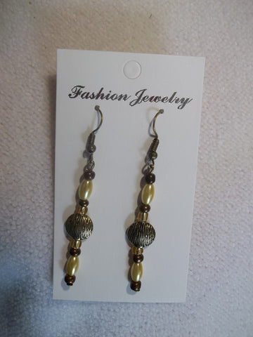Bronze Yellow Beads Earrings (E832)