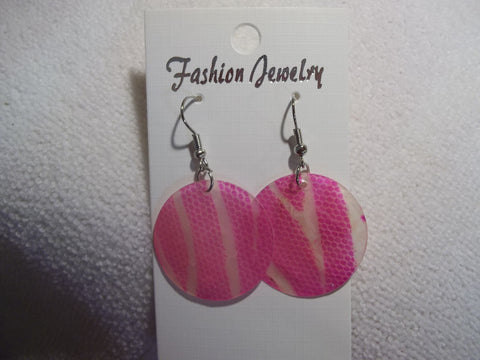 Silver Pink Animal Print Thin Shell Earrings (E843)