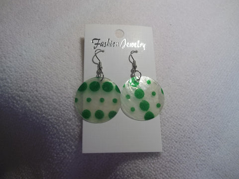 Silver Green Dots Thin Shell Earrings (E845)