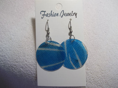 Silver Blue Animal Print Thin Shell Earrings (E847)