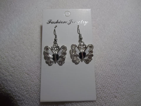 Silver White Black Butterfly Earrings (E849)