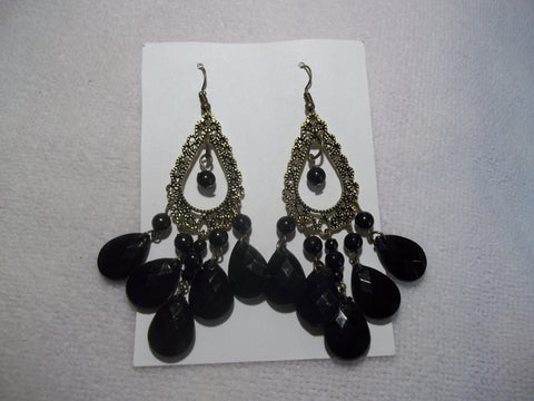 Bronze Black Dangle Earrings (E856)
