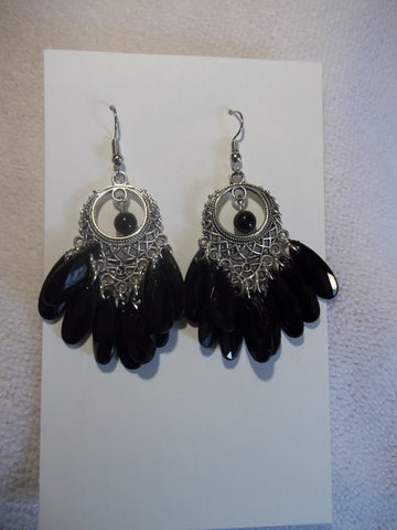 Silver Black Dangle Earrings (E857)