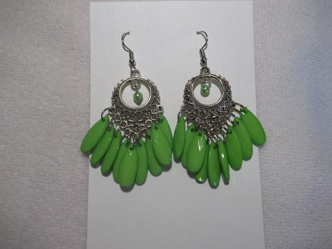 Silver Lime Green Dangle Earrings (E859)