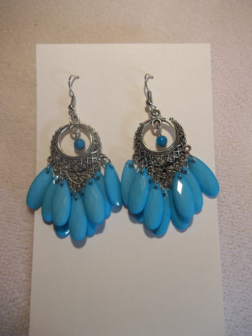 Silver Blue Dangle Earrings (E860)