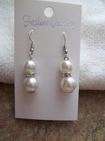 Silver White Pearls Bling Earrings (E869)