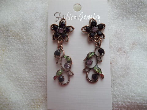Rose Gold Purple Flower Stud Dangle Earrings (E871)