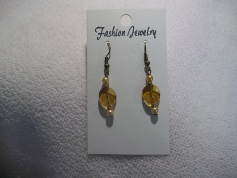 Bronze Brown Gold Glass Bead Pearl Earrings (E874)
