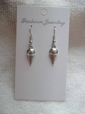 Silver Ice Cream Cone Earrings (E882)