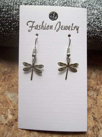 Tiny Sage Green Metal Dragonfly Earrings (E885)