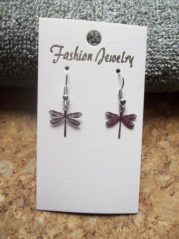 Tiny Mauve Metal Dragonfly Earrings (E886)