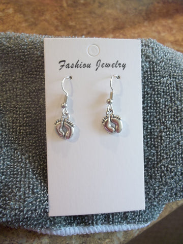 Silver Feet Earrings (E892)