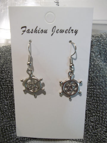 Silver Ships Wheel Earrings (E895)