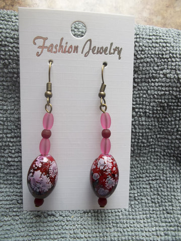 Bronze Red Pink Glass Bead Earrings (E908)