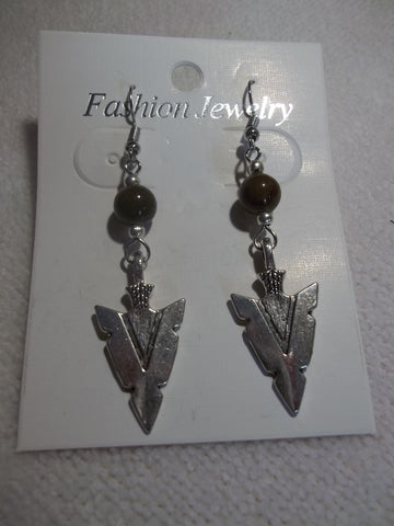 Silver Brown Bead Arrow Head Earrings (E910)