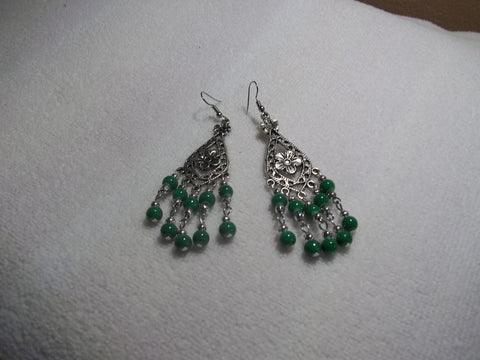 Silver Green Glass Bead Earrings (E917)