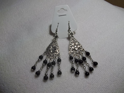 Silver Black Glass Bead Earrings (E918)