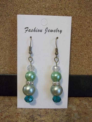 Bronze Green Pearl Bling Earrings (E922)