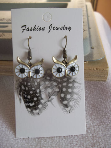 Bronze Brown White Owl Feather Earrings (E923)