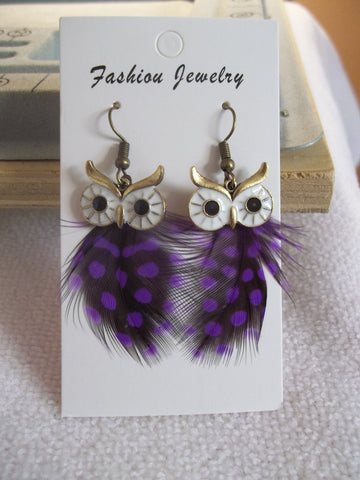 Bronze Purple Owl Feather Earrings (E924)