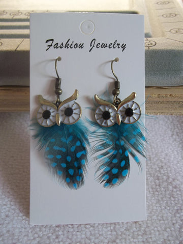 Bronze Turquoise Feather Owl Earrings (E925)