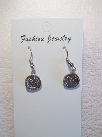 Silver Metal Coin Earrings (E927)