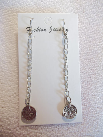 Silver Long Chain Coin Earrings (E928)
