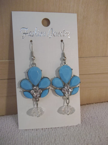 Silver Blue Bling Earrings (E932)