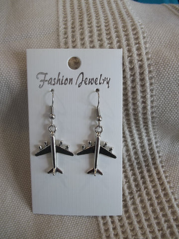 Silver Airplane Earrings (E935)