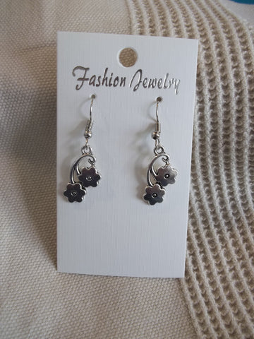Silver Double Flower Earrings (E936)