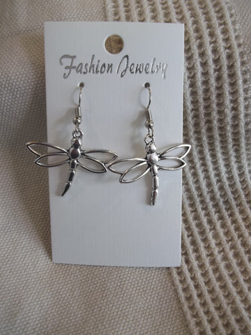 Big Silver Dragonfly Earrings (E937)
