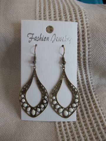 Bronze White Dot Tear Drop Earrings (E940)