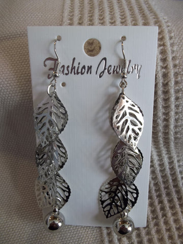 Silver Leaf Silver Bead Long Earrings (E942)