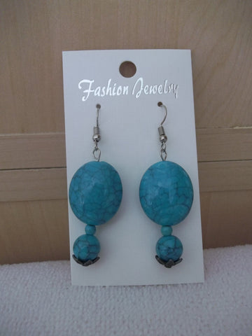 Blue Turquoise Bead Earrings (E952)