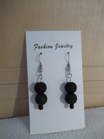 Matte Green Black Glass Bead Earrings (E954)