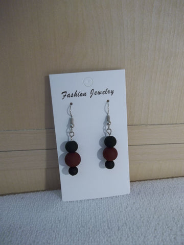 Matte Burgandy Black Glass Bead Earrings (E955)
